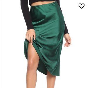 Fashion Nova Green Slip Satin Skirt